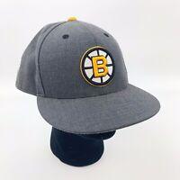 Boston BRUINS Mens Gray Wool Mitchell Ness Hat Cap Vintage Hockey NHL Sz 8