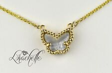"Natural Mother of Pearl Lucky Butterfly 14K Yellow Gold Necklace +16"" Chain"