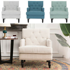 T Back Barrelback Tub Chair Armchair Button Accent Occasional Fireside Sofa Seat