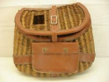 Vintage Large Fishing Angler Creel Basket Wicker Leather Pouch Trim Buckle Strap