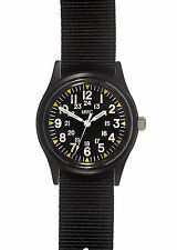 MWC Matt Black 1960/70s Vietnam Pattern Military Watch on Black Strap / Band