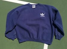 Vintage adidas Trefoil Crew Sweatshirt Medium Navy Blue USA Made 90s VTG