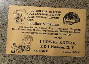 Advertising Card ca. 1950 -Rooms, Boating & Fishing, Ludwig Krizar, Hudson NY