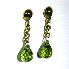 Vintage Briolette Peridot 18ct Yellow Gold Chain Drop Stud Earrings