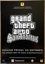 Grand Theft Auto San Andreas Official Rockstar Promo Poster, Brand New