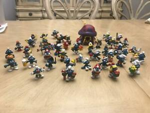 Lot of 45 Vintage Smurfs Peyo Schleich 1960's 1970's 1980's Collectible
