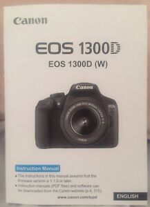 Canon EOS 1300D Full Colour Manual - Printed & Professionally Bound Size A5 NEW