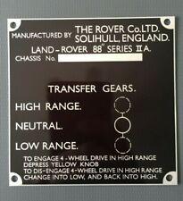 Land Rover Series 2a Bulkhead Gear/Transfer Box Information Plate/Plaque 88