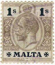Malta Maltese Vintage Stamp 1914-22 KING GEORGE V Definitive set 1/-  1 Shilling