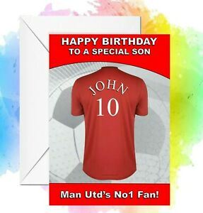 Personalised Birthday card Man United Football any name/relation/age