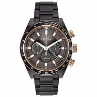 Citizen Eco-Drive Men's CA4207-53H Chronograph Rose Gold Accents Grey 42mm Watch
