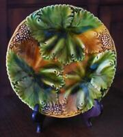 ESTATE MAJOLICA CABINET PLATE COLLECTION #19: ANTIQUE FRENCH FALL LEAF TRIO