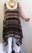"Coco & Juan Plus Size Lagenlook Layering Tunic Top Multi Stripe Knit 1X 2X B50"""
