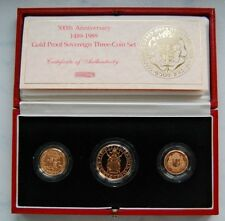 1989 Queen Elizabeth II 500th Anniversary 3 Coin Proof Gold Sovereign Set