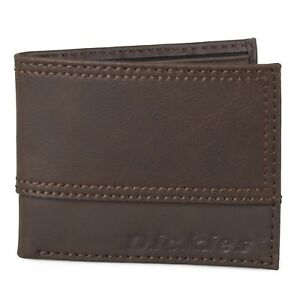 Dickies Men's Genuine Leather Topstitched Bifold Wallet BROWN