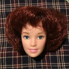 Barbie Fashion Doll Head Only, for OOAK Reroot Repaint Millenial Bowl Cut Red