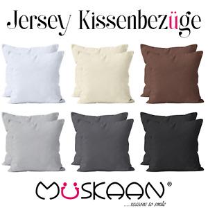 2er Pack Jersey Kissenbezug 40x40 40x80 80x80 Kissenhülle Dekokissen 100% Baumw.