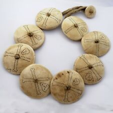 "Naga Sacred Conch Shell Tattoo Disks Necklace 19"" Tibetan Handmade Nepal UN1938"