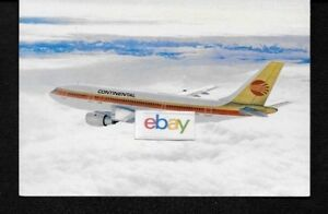 CONTINENTAL AIRLINES  AIRBUS A-300 CONTRAILS LIVERY AIRLINE ISSUE POSTCARD