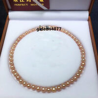 "Charming AAA+ 7-8MM REAL SOUTH SEA NATURAL PINK PEARL NECKLACE 18"" 14K GOLD"