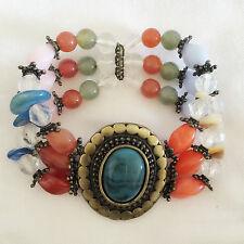 New Kids Floral Good Fortune Topaz Jade Crystals Bead Elastic Bracelet BR1257A