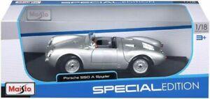 RARE MAISTO SPECIAL EDITION PORSCHE 550 A SPYDER SILVER 1/18 DIECAST