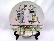 "J & C JAEGER & CO 13 3/8"" HAND PAINTED WALL PLATE DUTCH COUPLE GERMANY 1898 MARK"