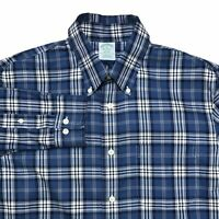 BROOKS BROTHERS MENS L/S MILANO NON-IRON SUPIMA COTTON PLAID BUTTON DOWN SHIRT M