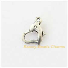 5Pcs Tibetan Silver Heart Bracelet Lobster Clasp Connectors 9x14mm