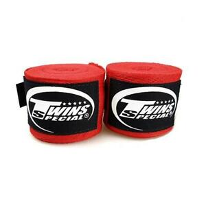 3 Pairs Twins Pro Boxing Cotton Hand Wraps Red
