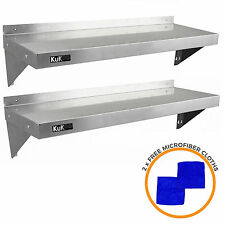 More details for 2 x commercial catering stainless steel shelves kitchen wall shelf metal 1250mm