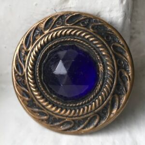 Antique Gay nineties JEWEL button~Brass~Royal blue glass stone~#05