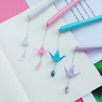 KQ_ TH_ 0.5mm Cute Cranes Pendant Black Ink Gel Pen Writing Marker Student Stati
