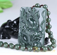100% Chinese Hand-Carved Green Natural Hetian Jade Dragon Lucky Pendant Necklace