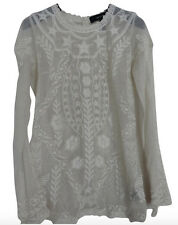 Isabel Marant Top Blouse Mesh S M USA 6 40 Cream Ivory Cotton Lace Embroidery