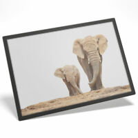 """Mother & Baby Elephant Cute Water Resistant Mouse Mat Table Place 8 x 10"""" #2321"""