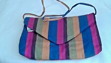 "Rainbow Fabric Bag, Clutch or Bagette, 11"" x 7"", black lined, lightweight"