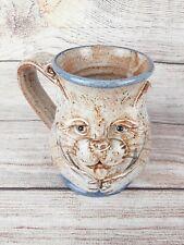 HANDMADE Sculpted UGLY Tiger Cat Face 3D Pottery CoffeeTea Mug Artist Stamped