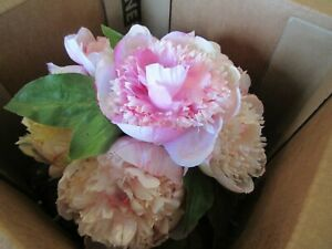 Pottery Barn faux flowers Peonies glass vase pink peach photo shoot sample