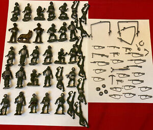 Original Vintage MPC Army Men Lot of 39 w/ Dog & accessories Military soldiers