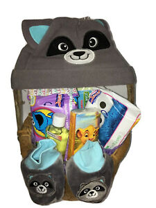 Baby Boy Gift Basket New Arrival Raccoon Hat / Footies Wipes Welcome Home Baby!