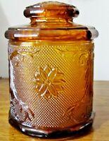 "Vintage Tiara Indiana Sandwich Glass Amber 7 1/2"" Medium Canister Biscuit Jar"