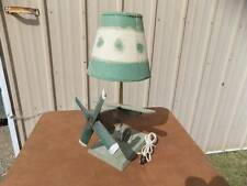 Airplane Lamp Vintage,  PRIMITIVE Green Wooden w/shade with MUCH Patima