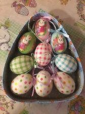 Easter Egg ORNAMENTS Bunny Rabbit Wreath Pick Swag Chicks Basket Chocolate S/9