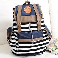 Women Cute Stripes Pattern Canvas Backpack School Bag Girl Fashion Travel Black