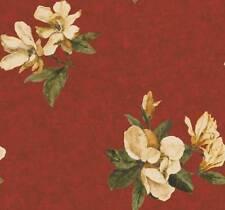 Wallpaper Designer Large Magnolia Floral on Red Faux Background With Gold Leaf
