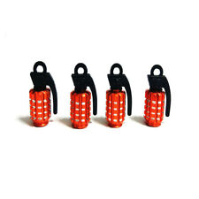 4pcs Orange Aluminum Car Motorcycle Bicycle Wheel Tire Tyre Valve Stem Caps