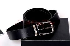 Montblanc Cinturón de Cuero Negro Hebilla de Metal de Paladio Pulido Nuevo