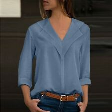 Women Chiffon Solid Long Sleeve Blouse Summer Casual Loose Tops T Shirt Pullover