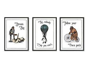 Funny Surreal Animal Inspiratonal Print Set, 3 Matching Vintage Humour Prints